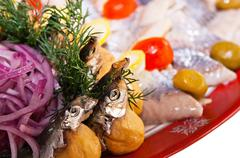 snack from fish for banquet - stock photo