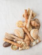 various small baked bread and buns - stock photo