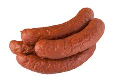 pile meat flavour sausages on white - stock photo