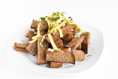roast rusk from bread with cheese and garlic - stock photo