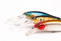 Bait for fishing - wobbler on white Stock Photos