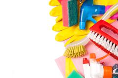 assortment of means for cleaning and washing - stock photo