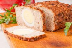 meat bread from rissole turkey on wooden board - stock photo