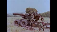 "US Artillery 8"" Howitzer Firing 02 Stock Footage"