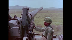 US-Artillery-tank175mmGun-Aiming01 Stock Footage