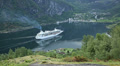 Cruise Ship approaching Geiranger Footage