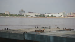 High water in the Amur River. City of Blagoveshchensk view Stock Footage