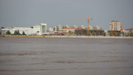 Russian City of Blagoveshchensk summer view. High water in the Amur River Stock Footage