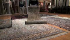 Stock Video Footage of Delhi rug sales