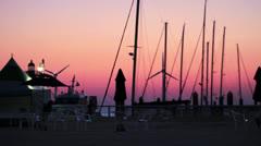 Boat Masts & Wind Turbines at Sunset: Jeongok Marina, South Korea HD Stock Footage