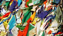 Tibetan prayer flags blowing in the wind Stock Footage