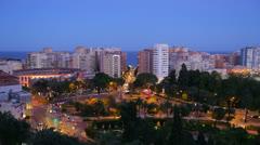 Malaga Coast Area at Twilight Stock Footage