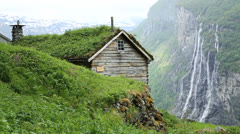 Small mountain farm Norway Stock Footage