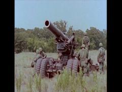 "US Artillery 8"" Howitzer - Setup 02 Stock Footage"