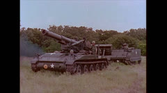 "US Artillery tank 8"" Howitzer Driving 01 Stock Footage"