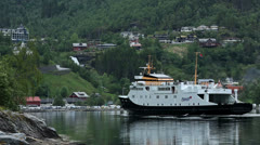 Ferry approaching Geiranger Stock Footage