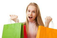 Teenager girl with shopping bags Stock Photos