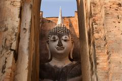 buddha statue at sri chum temple in sukhothai historical park thailand - stock photo