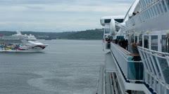 Cruise ship passing in Seattle Washington port bay HD 6843 Stock Footage