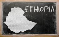 Outline map of ethiopia on blackboard Stock Illustration