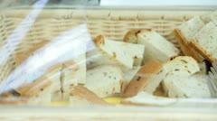 Bread in glassed basket Stock Footage
