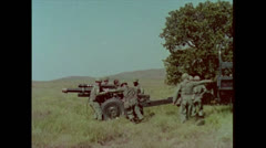 US Artillery 105mm Howitzer Setup 01 Stock Footage