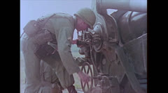 """US Artillery 8"""" Howitzer - Aiming 01 Stock Footage"""