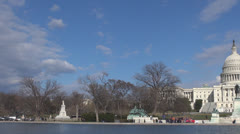 Stock Video Footage of Pan right of The United States Capitol building with lake by day, Washington DC