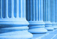 Neoclassical columns closeup blue Stock Photos