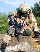 Wounded soldier Stock Photos