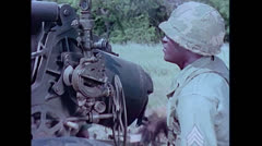 US Artillery 155mm Howitzer aiming 01 Stock Footage