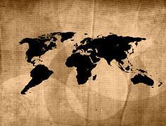 Stock Illustration of scratch vintage world map.