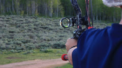 Shooting a Compound Bow Stock Footage