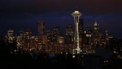 Seattle downtown skyline at night pan 25p Stock Footage
