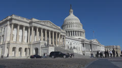 Stock Video Footage of Tourists visit The United States Capitol building by day, Washington DC, USA