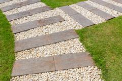 stone path in garden - stock photo
