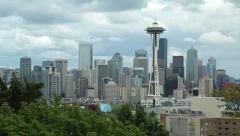 Seattle downtown skyline buildings pan 25p - stock footage