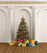 Classic interior with christmas-tree and ionic column Stock Illustration