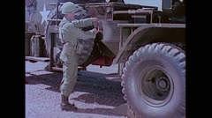 """US Artillery 762mm Rocket """"Honest John"""" Loading 01 Stock Footage"""