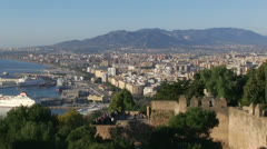 Malaga Cityscape from Fortress Stock Footage