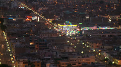 Lima at Night, Panoramic view, Peru - stock footage