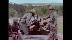 US Artillery 105mm Howitzer firing 02 Stock Footage