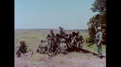 US Artillery 105mm Howitzer firing 01 Stock Footage