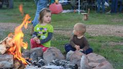 KIds at campfire Stock Footage