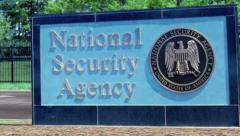 NSA (National Security Agency) sign jib shot Fort Meade (Ft. Meade) - stock footage