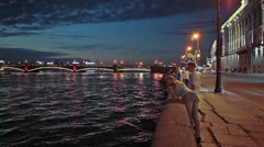 Stock Video Footage of White nights with people waiting drawbridge opening