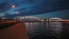 Embankments of Bolsheokhtinsky Bridge in Saint-Petersburg, Russia Stock Footage