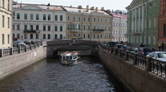 Pleasure boats for tourists in center of Saint-Petersburg, Russia Stock Footage