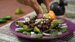 Roasted Mexican grasshoppers - stock footage