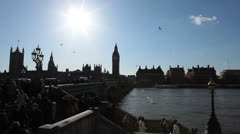 Crowd of people walking across Westminster Bridge - London, UK 4 Stock Footage